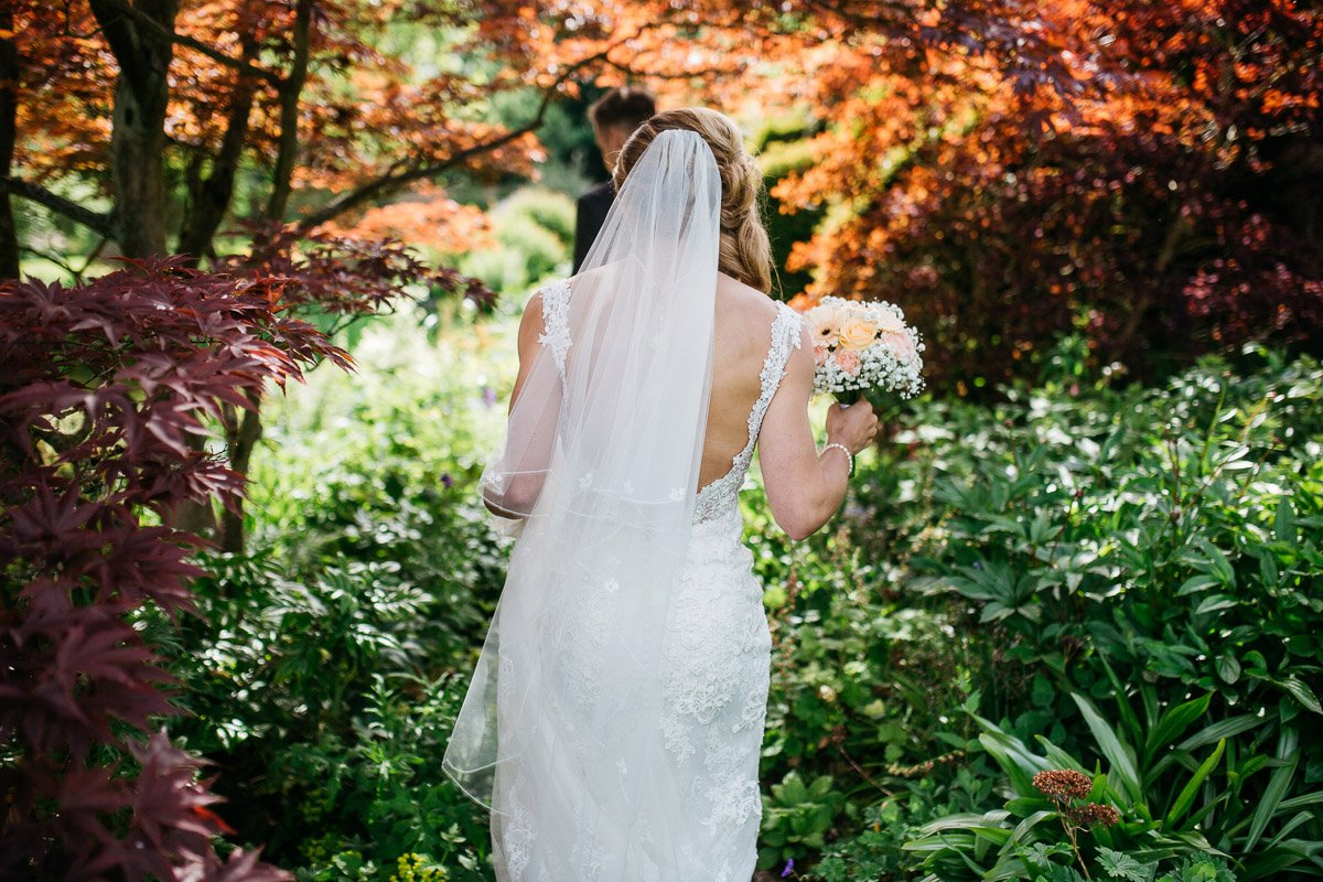 Red acer, japanese, wedding bride, wedding dress, white dress, saltmarsh hall
