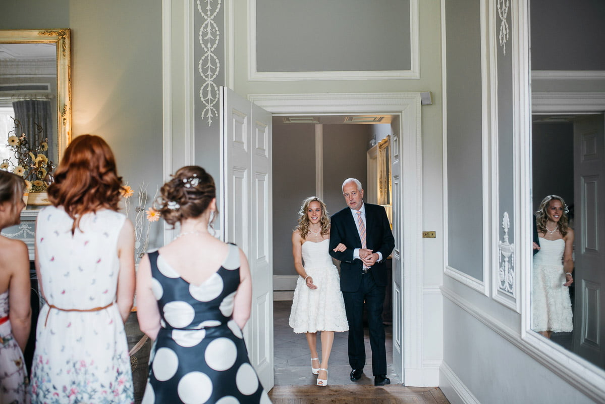 bride, father of the bride, intimate ceremony, wedding ceremony, morning of the wedding, documentary wedding photographer, photography, yorkshire, saltmarsh hall
